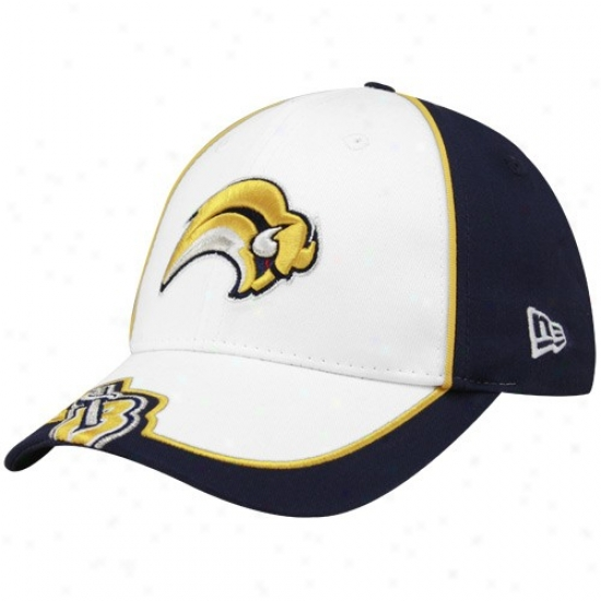 Buffalo Sabres Merchandise: New Era Buffalo Sabres Youth White-navy Blue Opus Adjustable Hat
