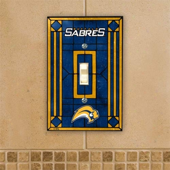 Buffalo Sabres Navy Blue Art-glass Switch Plate Cover
