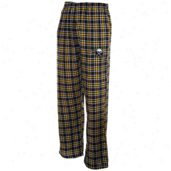Buffalo Sabres Navy Blue-gold Plaid Match-up Flannel Pajama Pants