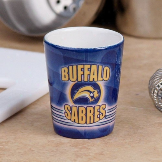 Buffalo Savres Navy Blue Slapshot Ceramic Shot Glass
