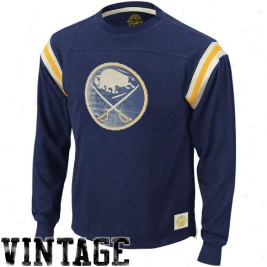 Buffalo Sabres Shirts : Reebok Buffalo Sabres Navy Blue Whitewashed Logo Applique Long Sleeve Vintage Shirts