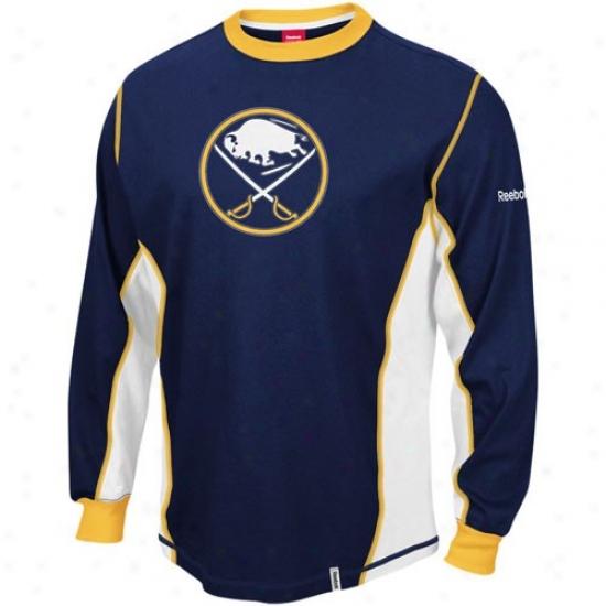 Buffalo Sabres Shirts : Reebok Buffalo Sabres Navy Blue Downfoece Constructed Long Sleeve Premium Shirts