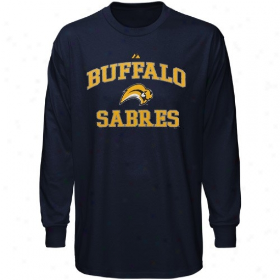 Buffalo Sabres T Shirt : Majestic Buffalo Sabres Navy Blue Heart & Soul Long Sleege T Shirt