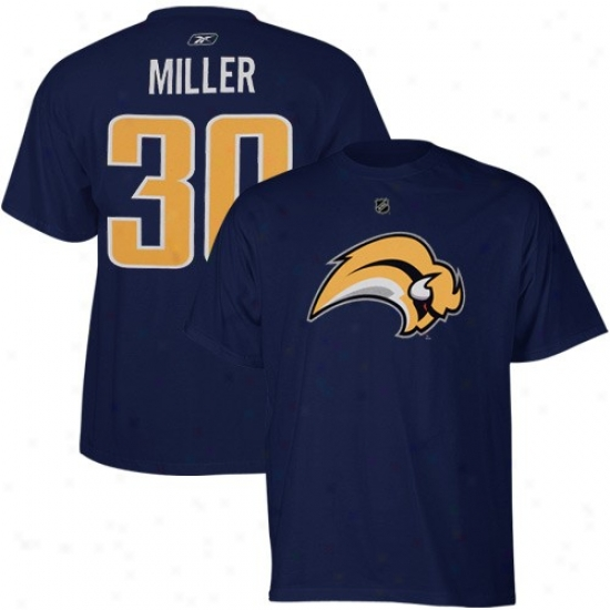 Buffalo Sabres T-shirt : Reebok Buffalo Sabres #30 Ryan Miller Navy Blue Net Player T-shirt