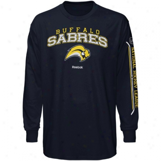 Buffalo Sabres Tee : Reebok Buffalo Sabres Navy Blue Double Stock Llng Sleeve Tee