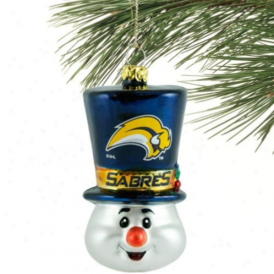 Buffalo Sabres Top Hat Snowman Blown Glass Ornament