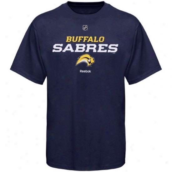 Buffalo Sabres Tshirt : Reebok Buffalo Sabrees Navy Blue Power Play Tshirt