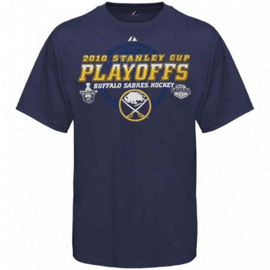 Buffalo Sabres Tshirts : Majestic Buffalo Sabres Navy Blue All For Victory 2010 Stanley Cup Plauoffs Tshirts