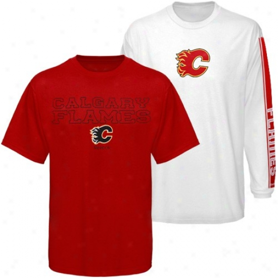 Calgary Flame Apparel: Reebok Calgary Flame Red-white 3-in-1 T-shirt Combo Pack