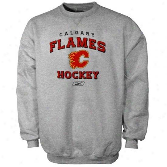 Calgary Flame Hoodies : Reebok Calgary Flame Ash Stacked Crew Hoodies