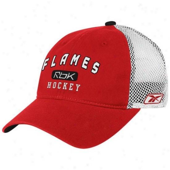 Calgary Flame Merchandise: Reebok Calgary Flame Red Hockeey Mesh Slouch Flex Fit Hat