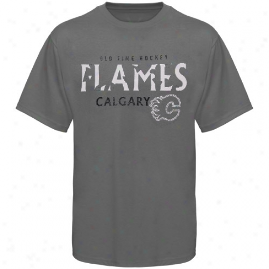 Calgary Flane Tees : Old Time Hockey Calgary Flame Charcoal St. Croix Tees
