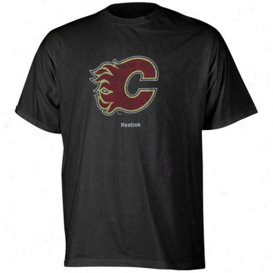 Calgary Ardor Tsbirts : Reebok Calgary Flame Black Faded Loho Tshirts