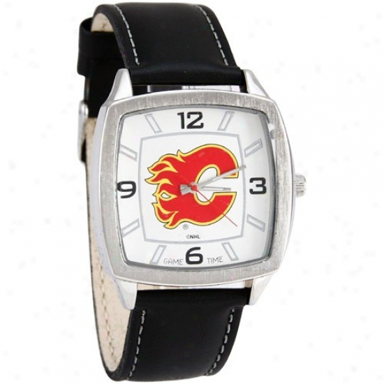 Calgary Flame Watch : Calgary Flame Retro Watch W/ Leather Band
