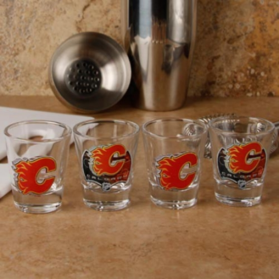 Calgary Flames 4-pack Enhanced High Definition Desgin Shot Glass Set