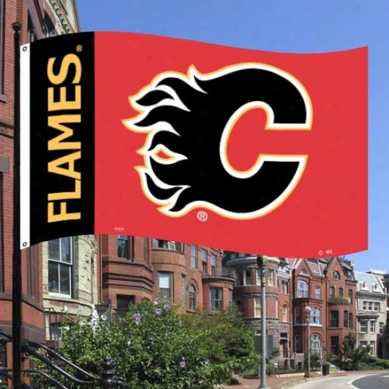 Calgary Flmes Banners : Calgary Flames Black-red Premium 3' X 5' Banners