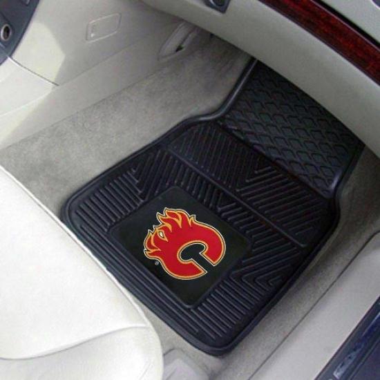 Calgary Flames Black 2-piece Vinyl Car Mat Set