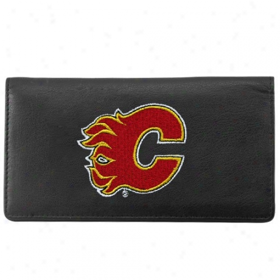 Calgary Flames Black Leather Embroidered Checkbook Cover