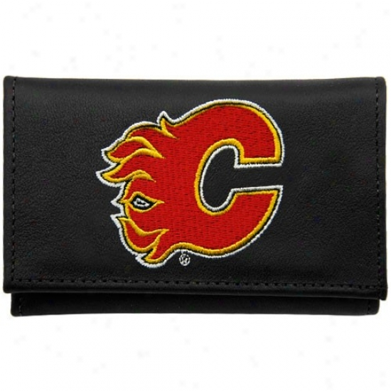 Calgary Flames Black Leather Embroideeed Tri-fold Wallet
