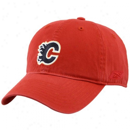 Calgary Flames Gear: Reeok Calgary Flames Red Unstructured Slouch Hat
