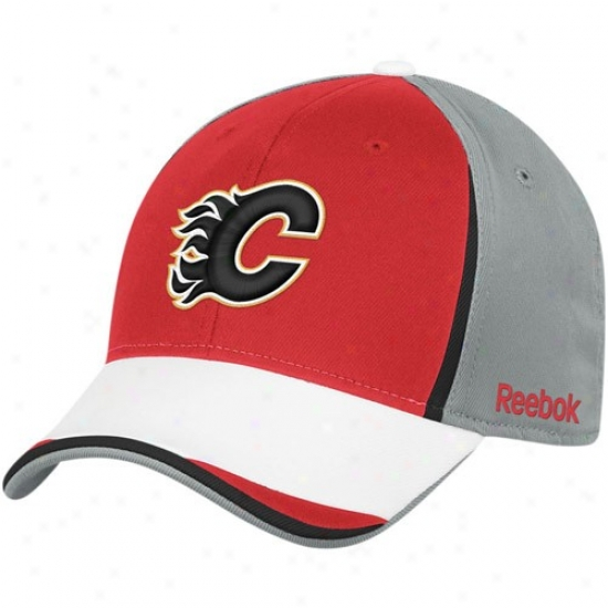 Calgary Flames Hat : Reebok Calgary Flames Gray-red Nhl 2010 Draft Day Flex Fit Hat