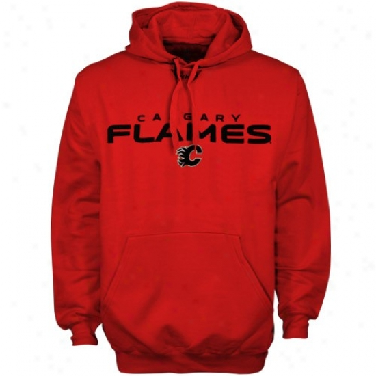 Calgary Flames Hoody : Majestic Calgary Flames Red Classic Hoody
