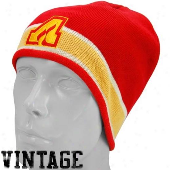 Calgary Flames Merchandise: Reebok Atlanta Flames Red Vintage Knit Beanie