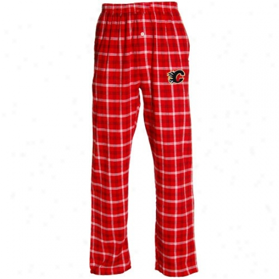 Calgary Flames Red Plaid Tailgate Flannel Pajama Pants