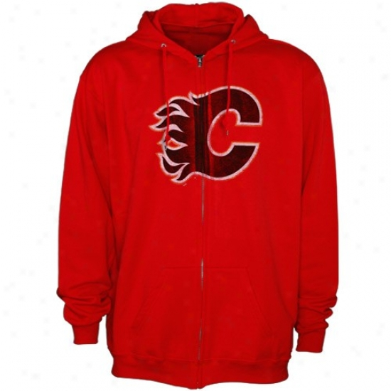 Calgary lFames Sweat Shirt : Majestic Calgary Flames Red Official Logo Full Zip Sweat Shlrt