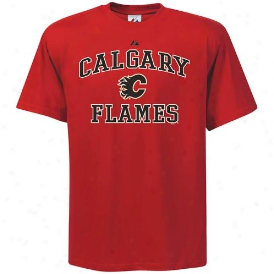 Calgary Flames T Shirt : Majestic Calgary Flames Red Heart & Soul Ii T Shirt