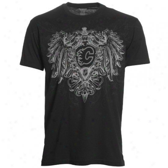 Calgary Flamse T Shirt : Reebok Calgary Flames Black Sabre & Shield T Shirt
