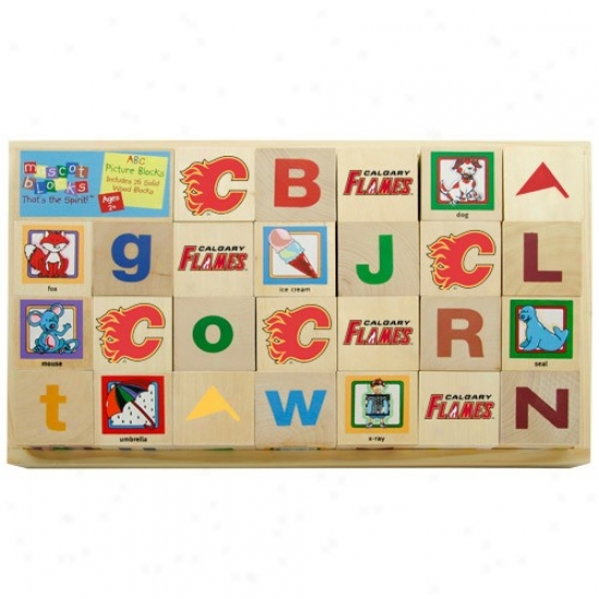 Calgary Flames WoodenM ascot Alhpabet Blocks