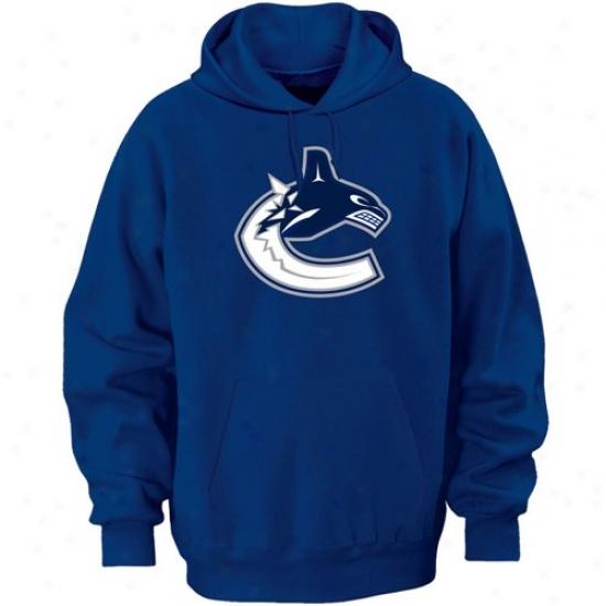 Canucks Sweatshirts : Majestic Canucks Royal Blue Felt Tek Patch Sweatshirts