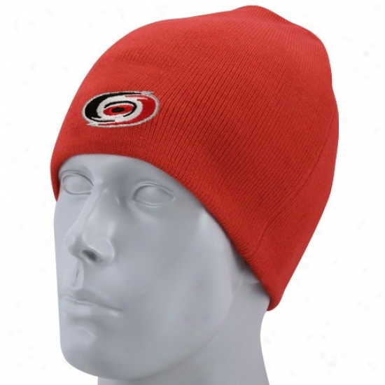 Carolina Hurricane Hat : Reebok Carolina Hurricane Red Basic Logo Knit Beanie