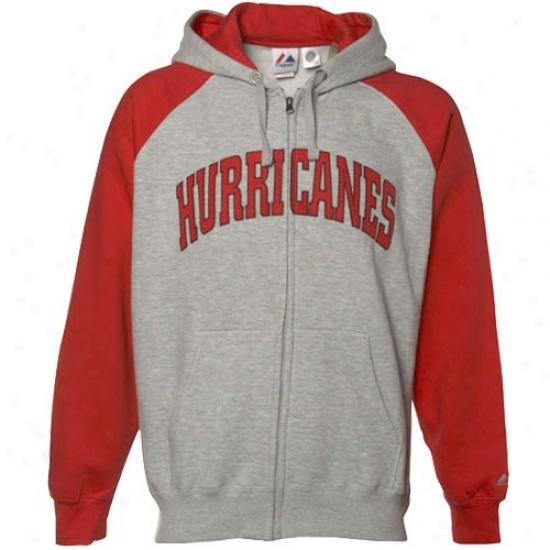 Carolnna Hurricane Hoodie : Majestic Carolina Hurricane Ash-red Slap Shot Full Zip Hoodie