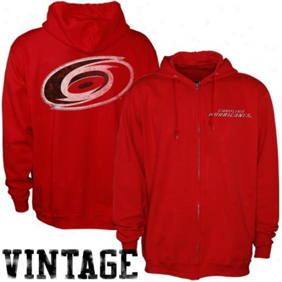 Carolina Hurricane Hoodys : Majestic Carolima Huricane Red Field Idol Full Zip Vintage Hoodys