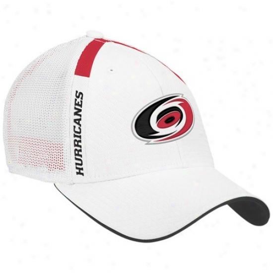 Carolina Hurricane Merchandise: Reebok Carolina Hurricane hWite  Nhl Draft Day Flex Fit Hat