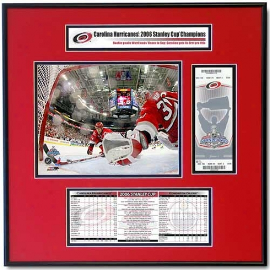 Carolina Hurricanes 2006 Stanley Cup Cam Ward Ticket Frame Jr.