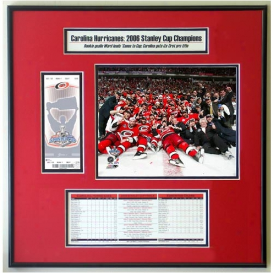 Carolina Hurricanes 2006 Stanley Chalice Celebration Ticket Frame Jr.
