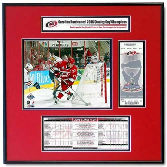 Carolina Hurricanes 2006 Stanley Lot Rod Brind'amour Ticket Frame Jt.