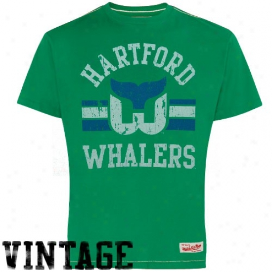 Carolina Hurricanes Clothes: Mitchell & Ness Hartford Whalers Green Throwback Logo Premium T-shirt