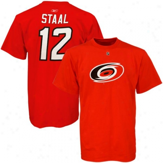 Carolina Hurricanes Attire: Reebok Carolina Hurricanes #12 Eric Staal Red Net Player T-shitt