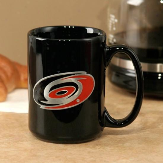 Carolina Hurricanes Black 15oz. Pewter Logo Ceramic Mug