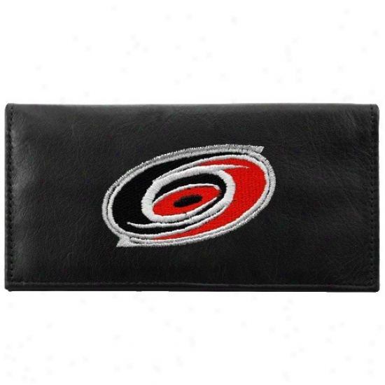 Carolina Hurricanes Black Leathef Embroidered Checkbook Cover