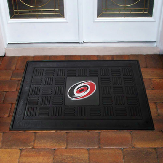 Carolina Hurricanes Black Team Logo Rubber Mat