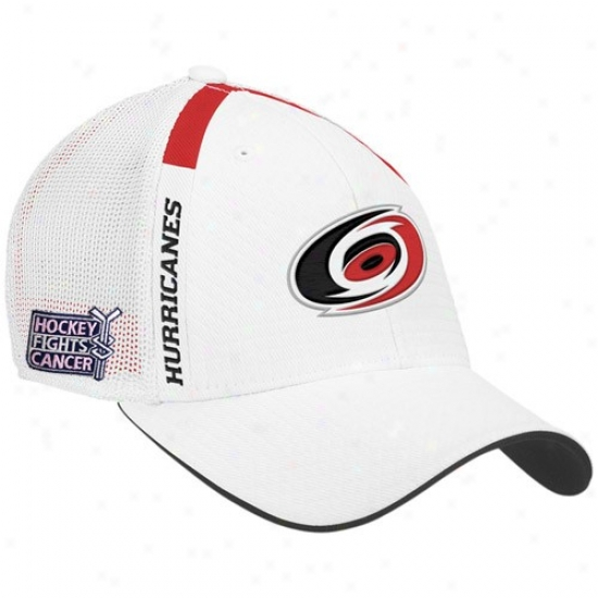 Carolina Hurricanes Gear: Reebok Carolina Hurricanes White  Hockey Fights Cancer Draft Day Flex Fit Hat