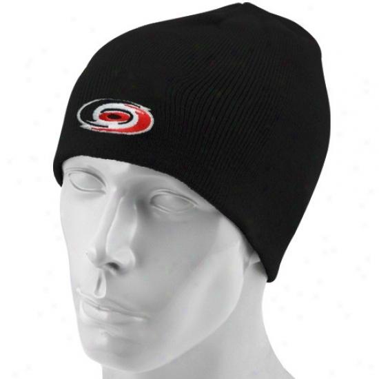 Carolina Hurricanes Hats : Reebok Carolina Hurricanes Blackk Basic Logo Skully Knit Beanie