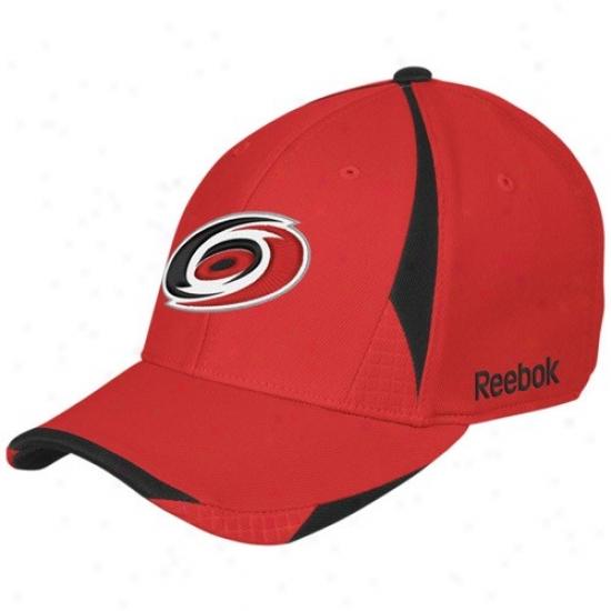 Carolina Hurricanes Hats : Reebok Carolina Hurricanes Red Player 2nd Season Flex Fit Hats