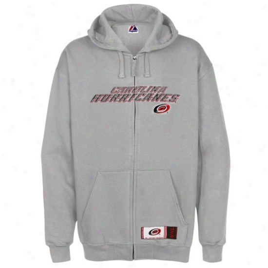 Carolina Hurricanes Jacket : Majestic Carolina Hurricanes Ash Classic Heavyweight Full Zip Hoody Sweatshirt