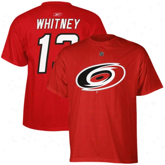 Carolina Hurricanes Tshiirts : Reebok Carolina Hurricanes #13 Ray Whitney Red Player Tshirts